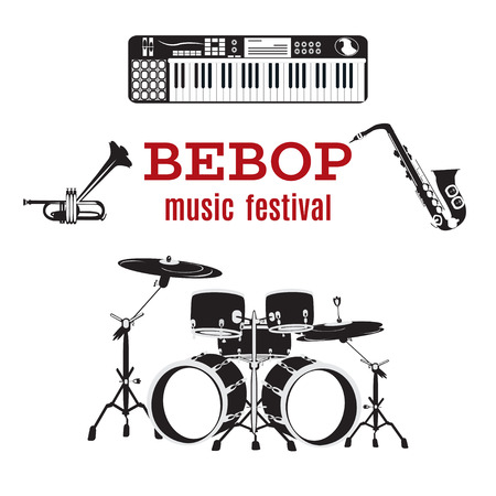 Set of bebop jazz music instruments