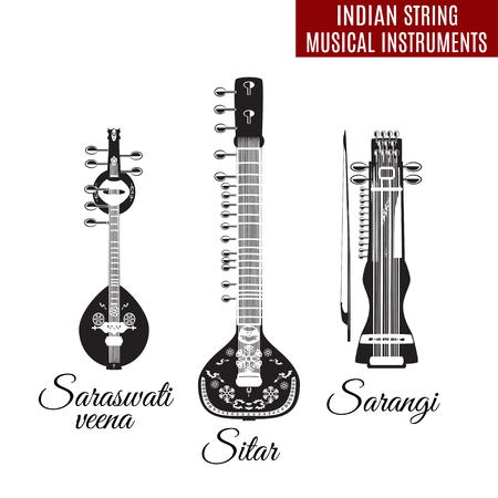 Set of Indian string musical instruments