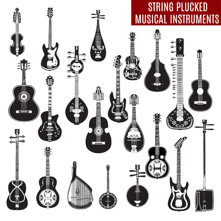 Vector set of black and white string plucked musical instruments in flat design