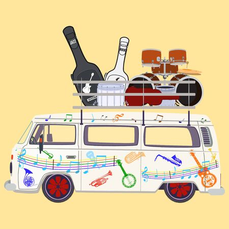Rock and roll music tour bus vector flat illustration Illustration