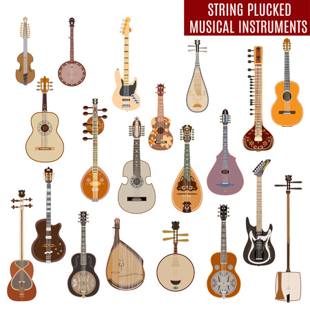 Vector set of string plucked musical instruments isolated on white background