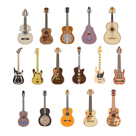 Vector set of guitars in flat style Vetores
