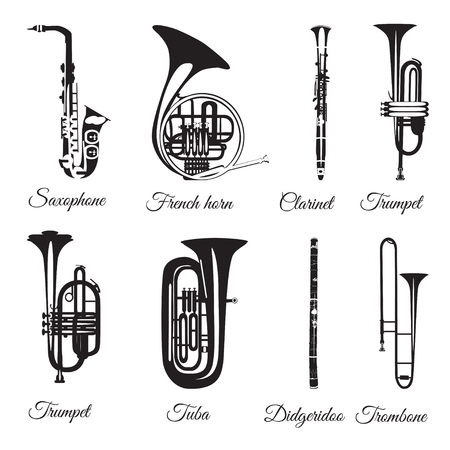 Vector set of wind musical instruments. Saxophone, clarinet, trumpet, trombone, tuba, french horn and didgeridoo isolated on white background. Black and white musical instruments, flat style. Illustration