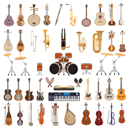 Vector set of plucked and bowed string, wind and other musical instruments isolated on white background. Flat style design.