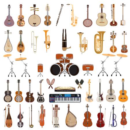 Ensemble de vecteur de cordes pincées et pincées, le vent et autres instruments de musique isolés sur fond blanc. Conception de style plat.