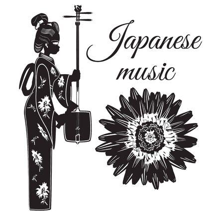Vector japanese music template. Musician girl with shamisen, string musical instrument. Chrysanthemum flower symbol of Japan. Flat style design elements. Illustration