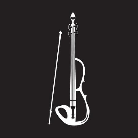 Illustration of violin white template on black background. Stock Illustratie