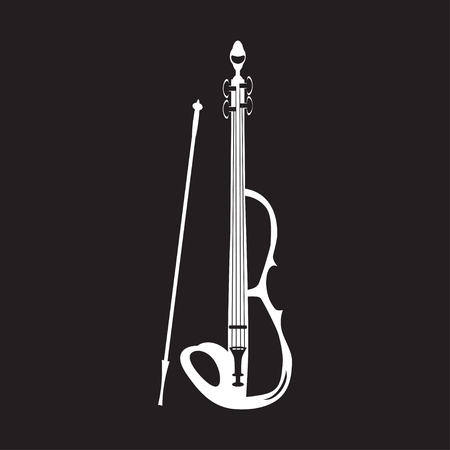 Illustration of violin white template on black background.