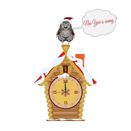 Merry Christmas and Happy New Years vector illustration with cartoon owl sitting on a fairy house with clock. New Years eve. Speech bubble. Illustration