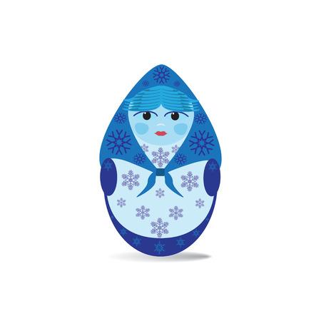 matreshka: Vector illustration of Russian doll matryoshka, blue colored with snowflakes.