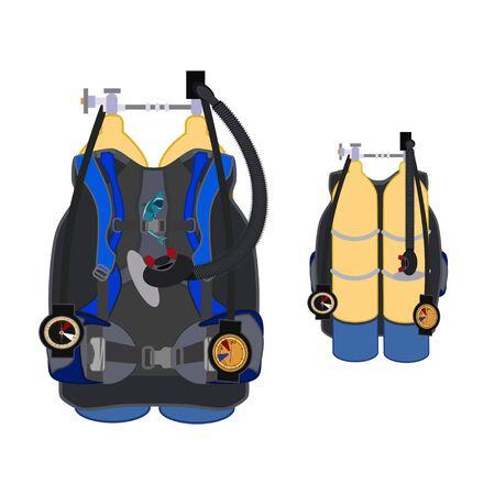 Aqualung for diving vector flat illustration