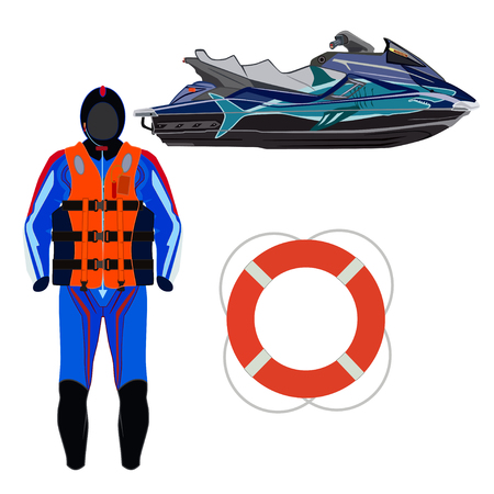 Water scooter rider equipment and protective gear vector illustration