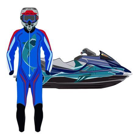 Jet ski, costume de skieur de jet et illustration vectorielle de protection Vecteurs