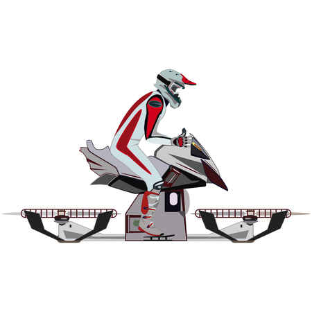 Motorcycle rider and hovering motorcycle vector flat icon set Illustration