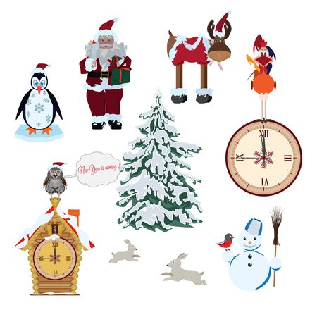 Vector set of Christmas and New Years cartoon characters