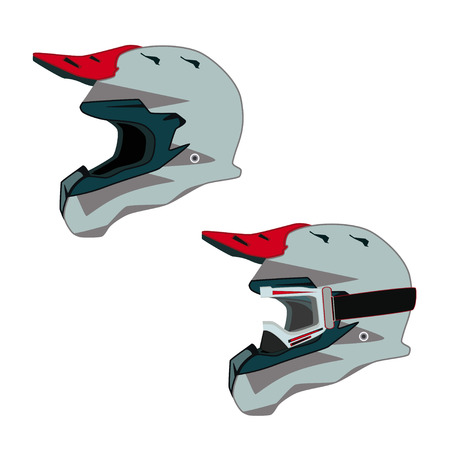 Motorcycle protective helmet and goggles side view vector flat illustration