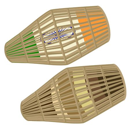Vector illustration of indian two-sided drum khol played with palms and fingers of both hands. Stock Photo