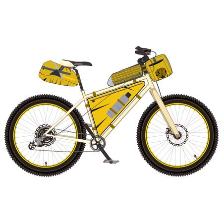 Vector illustration of touring bike with saddlebag, frame bag and handlebar bag. Road racing bicycle with bikepacking gear. Flat style design.