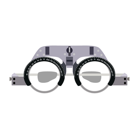 Vector illustration of ophthalmic glasses for diopter detection isolated on white background. Flat style design. Illustration