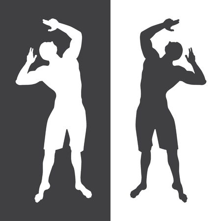 Bodybuilder showing strong and muscular body white and black silhouettes on black and white background. Bodybuilding, mens physique and fitness concept vector illustration.