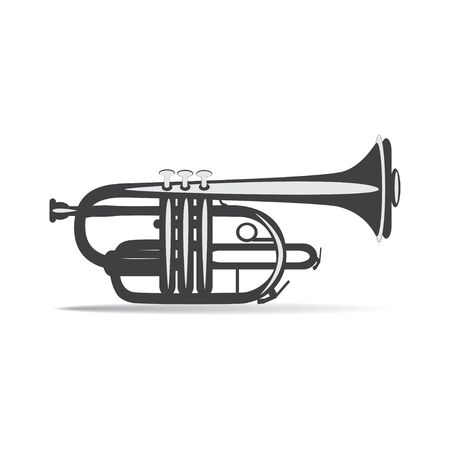 Black and white trumpet isolated, vector illustration