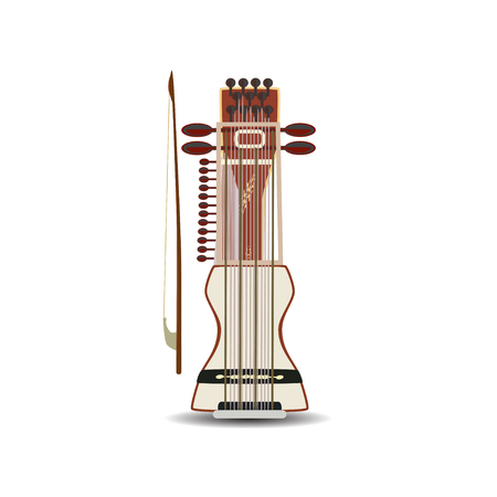 Vector illustration of sarangi indian string bowed musical instrument.