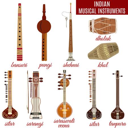 Set of indian musical instruments, flat style. Illusztráció