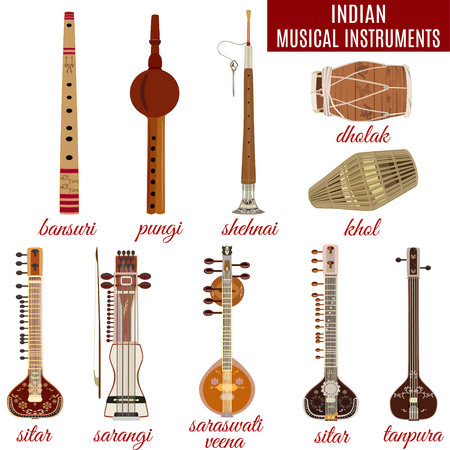 Set of indian musical instruments, flat style. Illustration