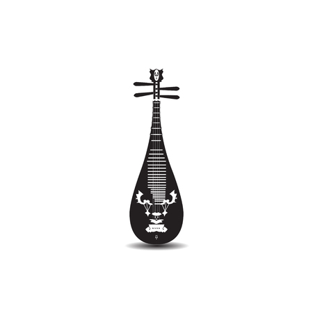 Vector black and white chinese pipa isolated on white background