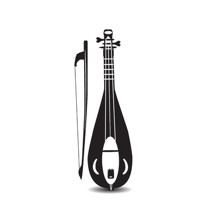 Illustration of black and white rebec violin with bow isolated on white background. Illustration