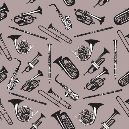 Vector seamless pattern with wind musical instruments. Illustration