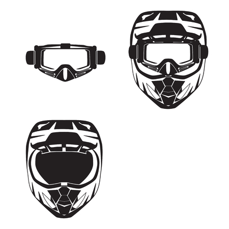 Motorcycle protective helmet and goggles vector black flat illustration.