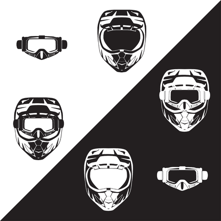 Motorcycle protective helmet and goggles vector black flat illustration