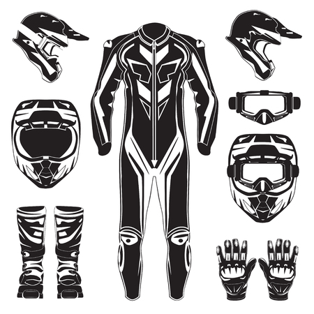 Motorcycle Riding Or Race Suit And Protective Gears Vector ...