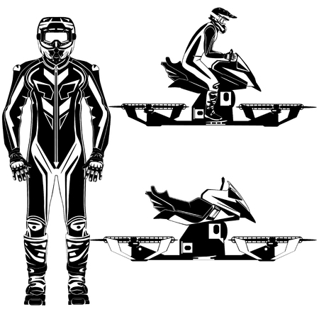 Hoverbike rider vector black and white templates