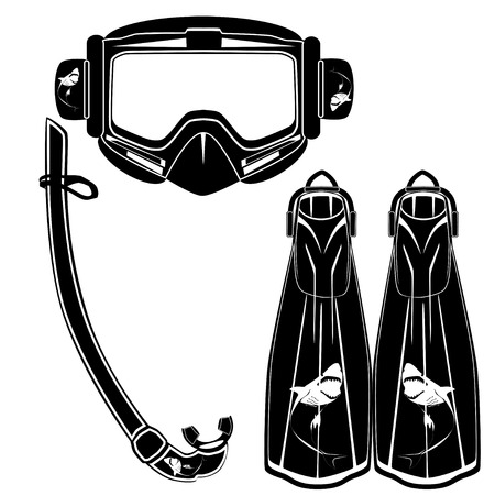 Diving flippers, mask and snorkel vector flat illustration