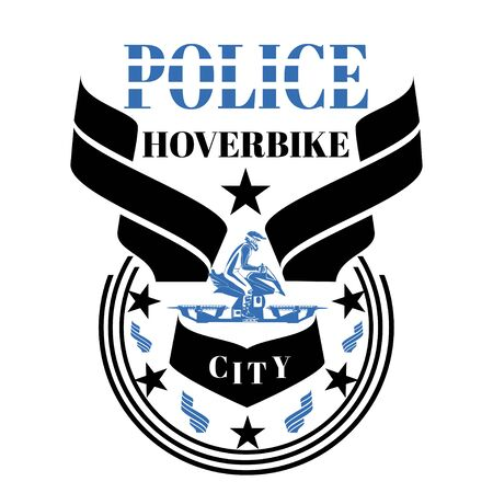 Police hoverbike vector design template