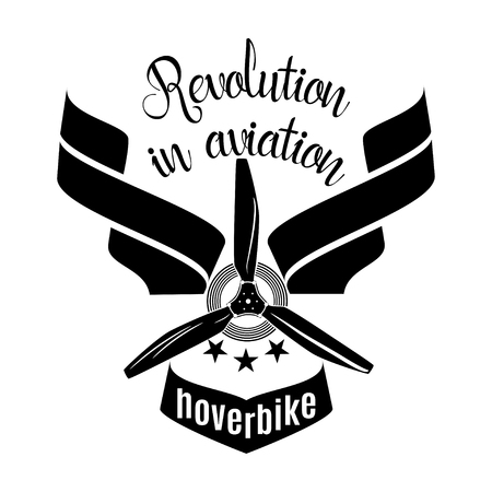 Hoverbike revolution in aviation vector logo, emblem design template