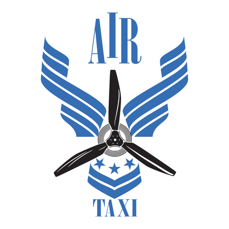 Air taxi emblem design template on white background.