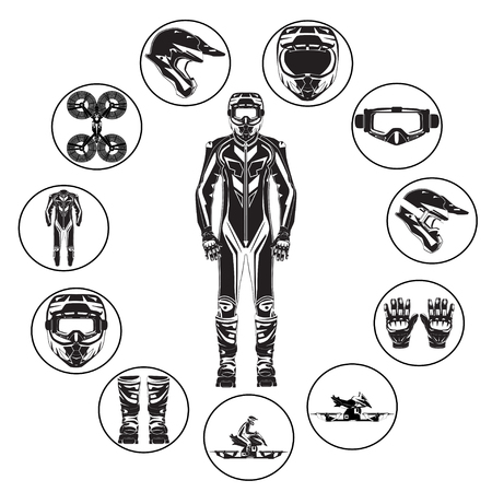 Motorcycle hoverbike rider in protective gear vector flat icon set