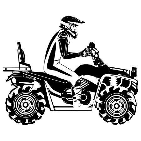 Quad bike rider vector black template Çizim