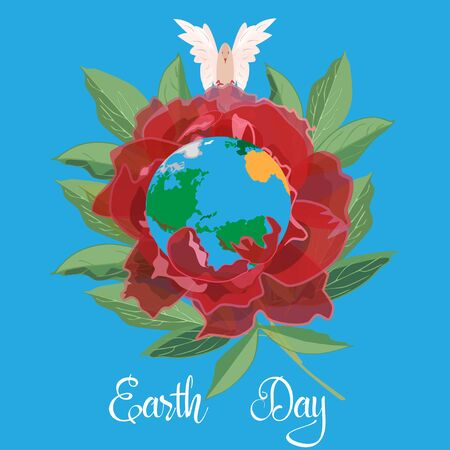 Blossoming and peaceful planet earth day vector flat illustration 向量圖像