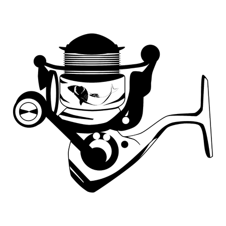 Fishing spinning reel vector black template isolated on plain background. Ilustração
