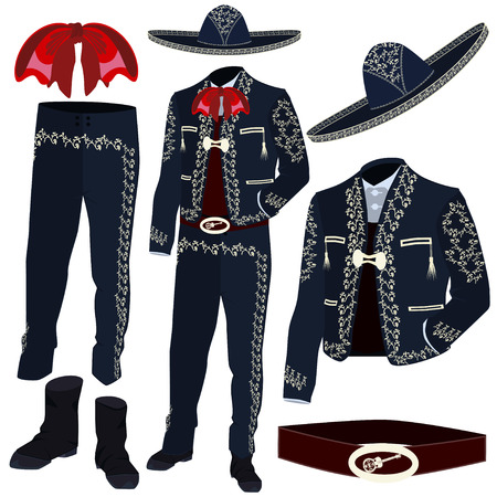 Mariachi musician costume parts vector illustration