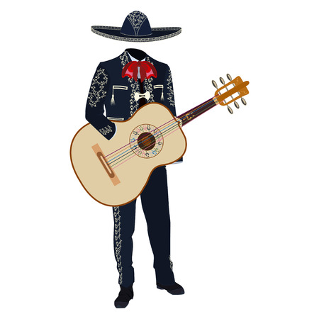 Mariachi musician with guitar vector illustration