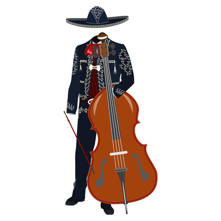 Mariachi musician with double bass vector illustration