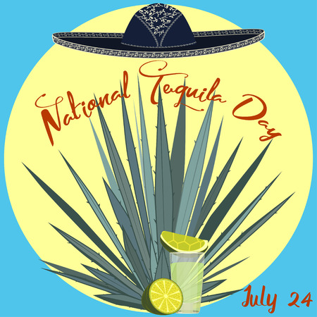 National tequila day card poster vector template