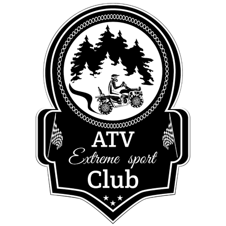 Vector atv quad bike extreme sport club emblem Illustration