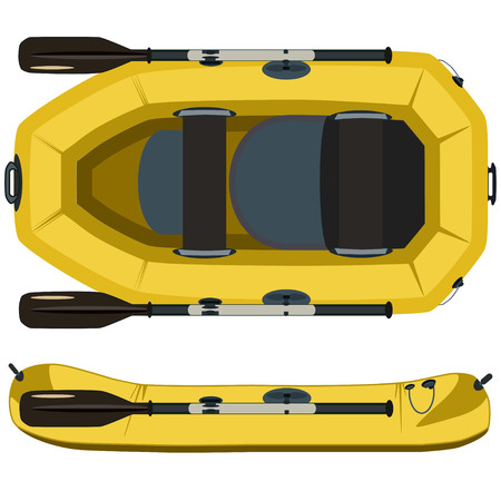 Rafting boat. Vector top and side view illustration isolated on white background. Rubber raft with paddles flat style design.