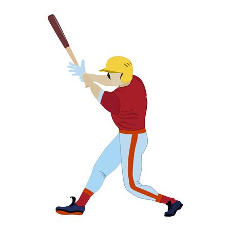 Baseball player batter with bat. Vector flat illustration isolated on white background. 일러스트